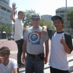 Larry with skate-boarders he was witnessing to at UN Plaza