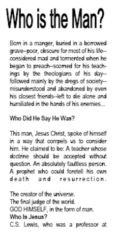 who is this man sos ministries free gospel tract downloads