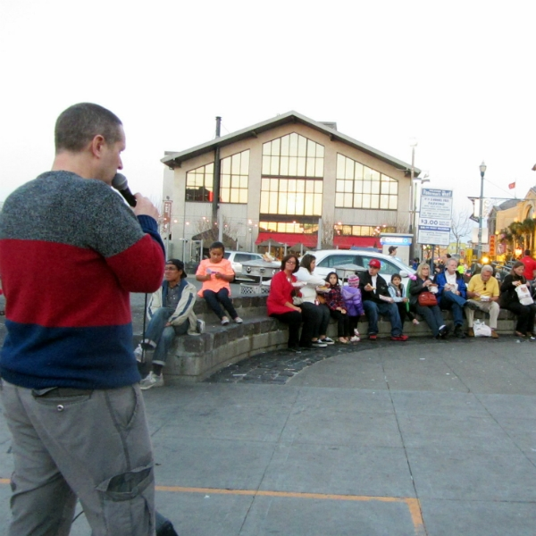 ANDY PREACHES AT FISHERMAN'S WHARF