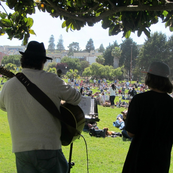 PAUL COCA & GRANDSON PAUL SING AT DOLORES PARK